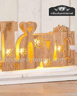Decoración madera LOVE con luces led 21 x 13