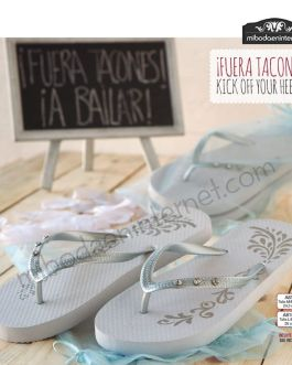 Chanclas Flip Flop blanca plata 3 brill+bolsa