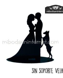 Figura decorativa novios con perro 18 cms