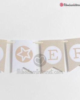 Banderola Letras beige guirnalda