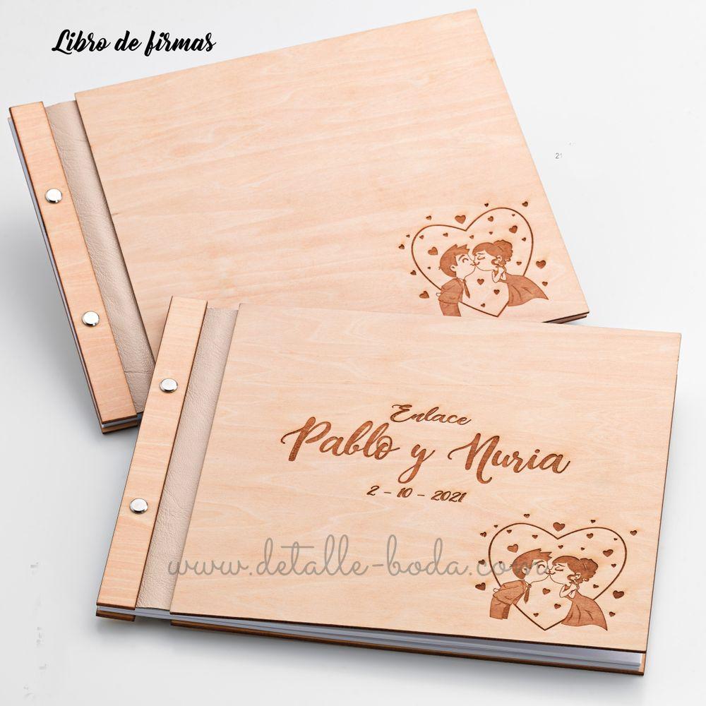 Libro de firmas de madera para boda grabado