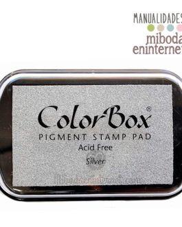 Tampon de Tinta Colorbox metalizado plata sin ácido