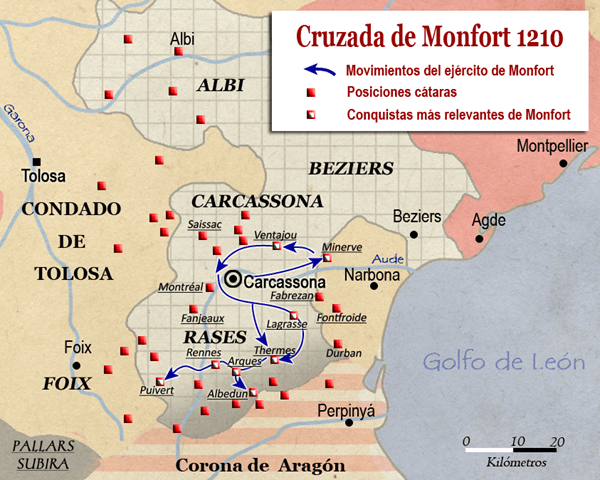 Resultat d'imatges de la cruzada de simon de montfort mapa