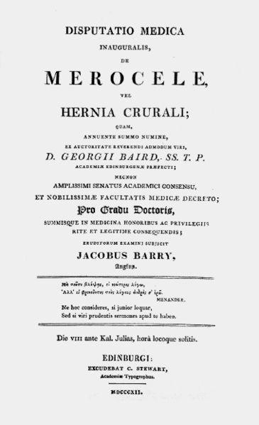 La tesis de James Barry sobre la hernia crural, escrita en latín