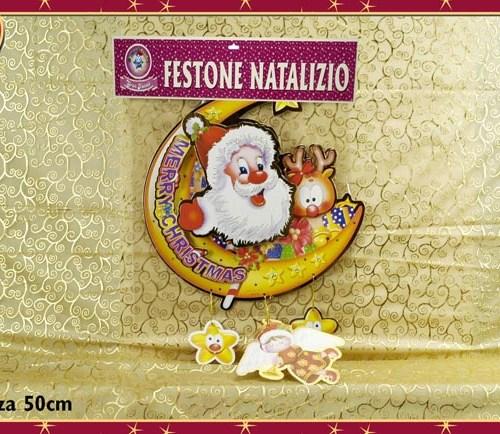 FESTONE BABBO NATALE CON LUNA 50 CM