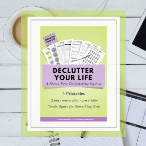Product image of the decluttering printable planner with lime green and a black and white image in the background.