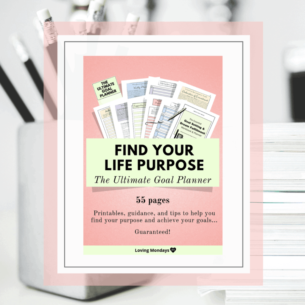 Product image of the 'Find Your Purpose' Goal Planner with coral and light green edges. Also includes a black and white image in the background with a container with black pencils and a stack of paper.
