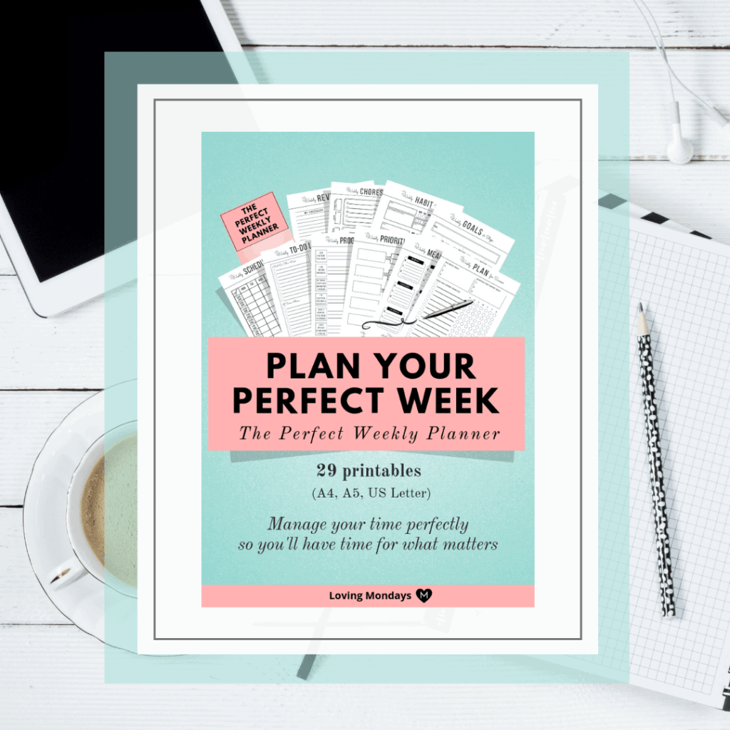 Product image of the weekly planner printable planner with light green and a black and white image in the background. The image in background includes a planner, pencil, ipad, ear buds and a cup of coffee.