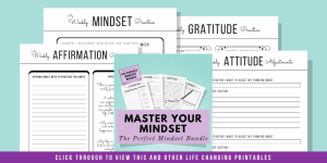 4 printable pages on a green background found in the Master Your Mindset Kit displayed on the image