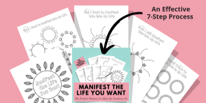 Product image with dark pink background and images from the Manifest the Life You Want product