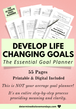 Produce image with a copy of the essential goal planner