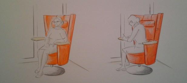 Der funktionale, gemütliche Sessel refugio wird den Seniorenzimmern Deutschlands in Zukunft Persönlichkeit und Wohlfühlambiente geben. Er gibt die Möglichkeit zwischen zwei verschiedenen Sitzpositionen zu wählen. Einerseits dient er mit seiner umschließenden Rückenlehne der Entspannung und dem Rückzug in das Persönliche, andererseits kann man sich zur Seite drehen und das Tischchen zum Schreiben nutzen. refugio geht auf die körperlichen Veränderungen des Alters ein und unterstützt mit seiner, auf den Senioren abgestimmten Ergonomie, das unbeschwerte Sitzen. Er dreht sich und ist höhenverstellbar. Armlehne und Tisch lassen sich abnehmen und sind auf beiden Seiten des Sessels zu verwenden.