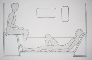 Step   Shower   Room (SSR) ist der moderne Duschraum, den wir Nutzer brauchen, um unsere alltäglichen Rituale und Handlungsabläufe im Bad leicht, bequem und genussvoll ausführen zu können. Der Duschraum ergänzt und vervollständigt unser Badezimmer, indem er eine Raum-in Raum-Situation schafft. Die hervorragenden Materialeigenschaften des Mineralwerkstoffs Corian, wie z.B. nahtlose, unsichtbare und fließende Verbindungen zwischen einzelnen Teilelementen, gewährleisten den Eindruck eines ganzen Stückes. Der SSR macht es uns möglich, in mehreren Nutzungspositionen und Körperhaltungen duschen und baden zu können, wie z.B. sitzend, liegend und aufrecht stehend.