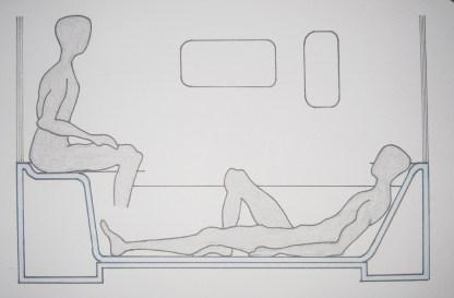 Step | Shower | Room (SSR) ist der moderne Duschraum, den wir Nutzer brauchen, um unsere alltäglichen Rituale und Handlungsabläufe im Bad leicht, bequem und genussvoll ausführen zu können. Der Duschraum ergänzt und vervollständigt unser Badezimmer, indem er eine Raum-in Raum-Situation schafft. Die hervorragenden Materialeigenschaften des Mineralwerkstoffs Corian, wie z.B. nahtlose, unsichtbare und fließende Verbindungen zwischen einzelnen Teilelementen, gewährleisten den Eindruck eines ganzen Stückes. Der SSR macht es uns möglich, in mehreren Nutzungspositionen und Körperhaltungen duschen und baden zu können, wie z.B. sitzend, liegend und aufrecht stehend.