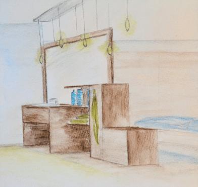 Ausgangspunkt für die Konzeptfindung war die Auflösung der Grenze zwischen Badezimmer und Schlafzimmer. Ziel ist, die Offenheit durch die neue Raumsituation trotz dem einsetzen von Mobiliar beizubehalten. Durch mein Möbel soll der Übergang dieser zwei Räume zelebriert werden. Es steht wie ein Paravent im Raum. Das Möbel soll die Bewegungsabläufe, die im Bad und im Schlafzimmer stattfinden, unterstützen. Es ist so gegliedert, dass es Funktionen von beiden Seiten aufnehmen kann.