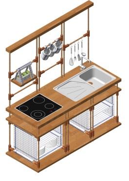 Diese Küche passt sich dem Normadenleben junger Erwachsener perfekt an. Die Konstruktion mittels Holz-Steckverbindungen lässt sich schnell und einfach auf- und abbauen und kann sich durch individuelle Ergänzungen den persönlichen Vorstellungen anpassen. Als kleine, auf eine hohe Funktionalität ausgerichtete Küchenzeile unterstützt sie den Benutzer bei der schnellen Zubereitung von Speisen und ist dabei trotzdem jederzeit so mobil wie ihr Besitzer, wenn es darum geht, nach einem Umzug sofort wieder zu Diensten zu stehen. Zerlegbarkeit und Materialität – ressourcenschonende natürliche Materialien wie Holz und Textilien – machen diesen Entwurf zu einem nachhaltigen Produkt.