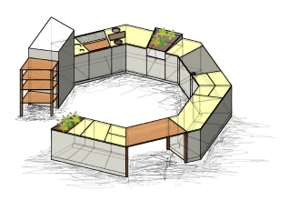 Das Projekt zeigt die unterschiedlichen Handlungsabläufe bei der Zubereitung von Speisen in Form einer Aneinanderreihung von einzelnen Bearbeitungsstationen, die auf die Küchenarbeitsplatte übertragen werden. Die dadurch entstehende Zonierung von Funktionsflächen entspricht der Idee der Frankfurter Küche, die erstmals die Küche als modernen Arbeitsplatz wahr nahm und die Handlungsabläufe durch die Anordnung der Küchenelemente optimierte. Dieser Küchenentwurf ist ein Denkmodell für die Optimierung von Gestaltung und Konstruktion von zukünftigen Küchen im Hinblick auf die optimale Benutzbarkeit.