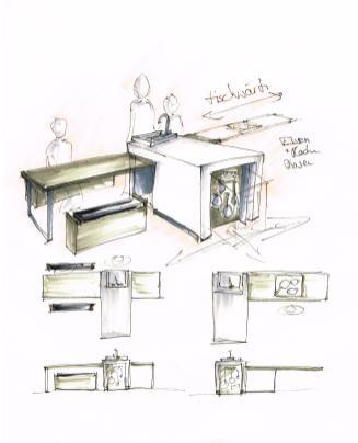 Ein zentral im Raum gelegener, sehr reduzierter Koch- und Essplatz splittet die Prozesse 'Kochen' und 'Essen' in zwangsweise aufeinanderfolgende Phasen auf, die nur durch gemeinsame Organisation und Kommunikation bewältigt werden können. Der Aufbau des Möbels und die reduzierte Ausstattung unterstützen eine Konzentration auf die Prozesse und geben diesen eine neue Wertigkeit. Ein experimentelles Küchenmöbel, als kritische Reflexion der heutigen Koch- und Essgewohnheiten.