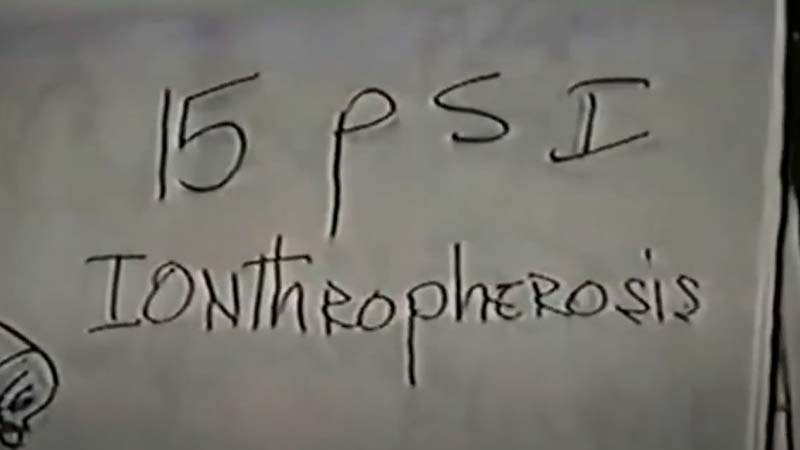 the word iontheopherosis as written in black on a white paper flip chart