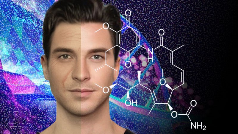 How to Look Younger Naturally with Shilajit - image of a male with an aged profile on the left and a younger profile on the right. Behind the face is an artistic representation of DNA and a molecular schematic of a molecular representation of geldanamycin