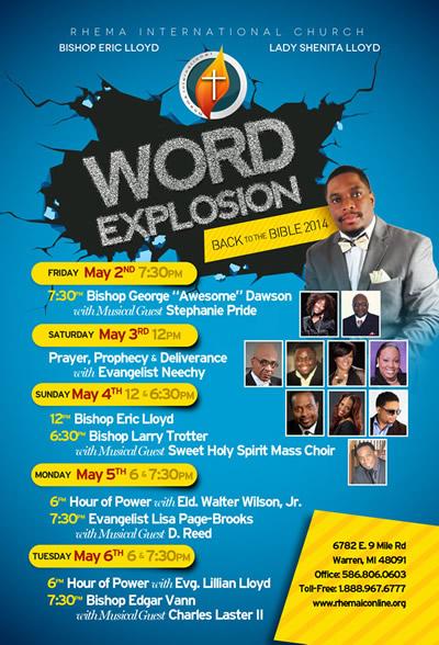 MAY 2-5: WORD EXPLOSION w/Bishops Eric Lloyd, Larry Trotter, Edgar Vann, Musical Guests & MORE @ Rhema Int'l Church