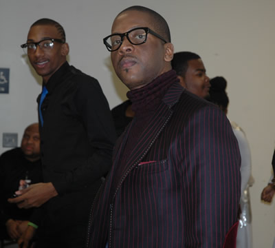 Donald Lawrence backstage at Kierra Sheard Live Recording(BRL member Jeemell Green in background)
