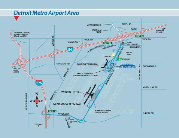 Map Detroit Airport Detroit Metro Airport Arrivals Departures Parking