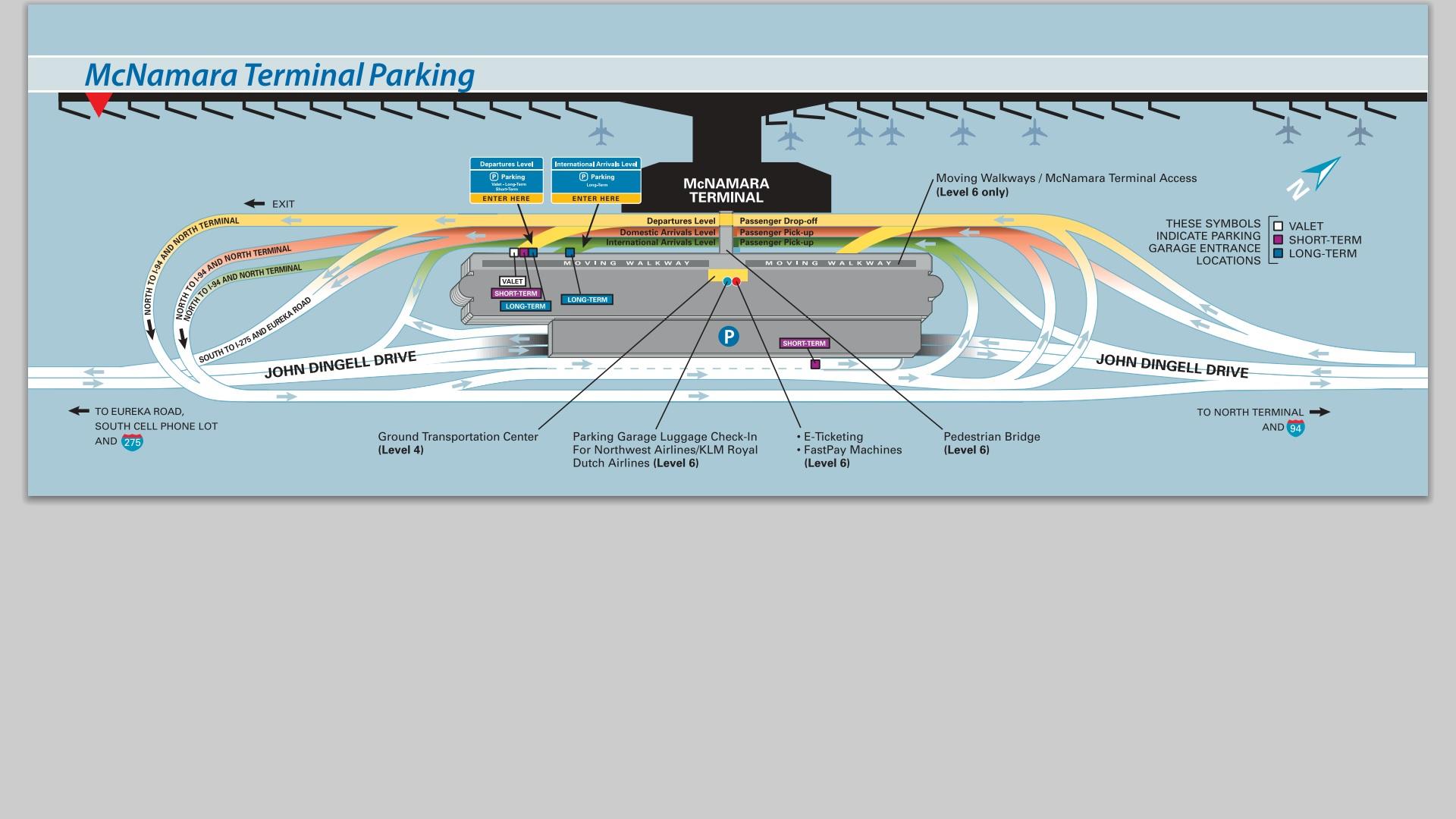 Map - Detroit Airport | Detroit Metro Airport-Arrivals, Departures Dtw Airport Parking Map on