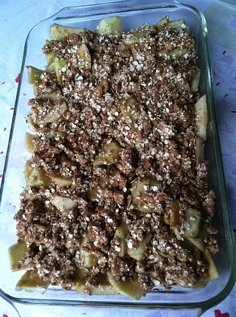 Caramel Apple Crisp ready for the oven