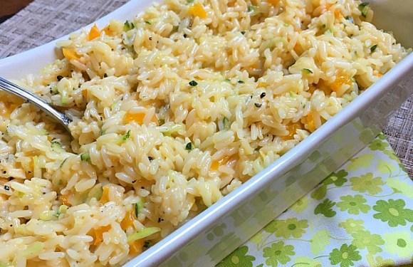 Cheesy Zucchini and Pepper Rice Recipe