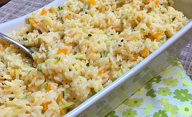 Cheesy Zucchini and Pepper Rice Recipe