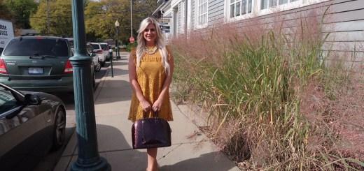 Shannon Lazovski in Gold Dress at Rochester Brunch House