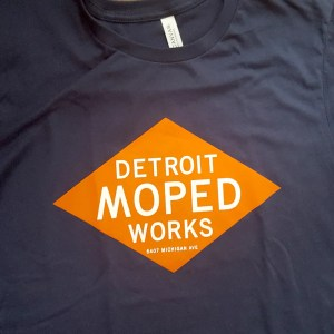 Navy Blue Detroit Moped Works Diamond Print T-Shirt