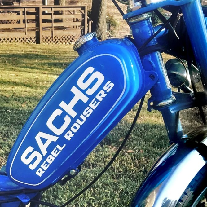 Reproduction Sachs Suburban tank decal with custom Rebel Rousers addition. Photo courtesy of William Ludwig.