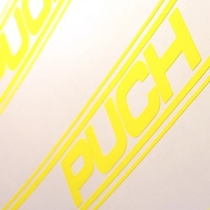 Neon yellow Puch Magnum tank decals
