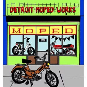 Bob's Burgers style Detroit Moped Works storefront shirt