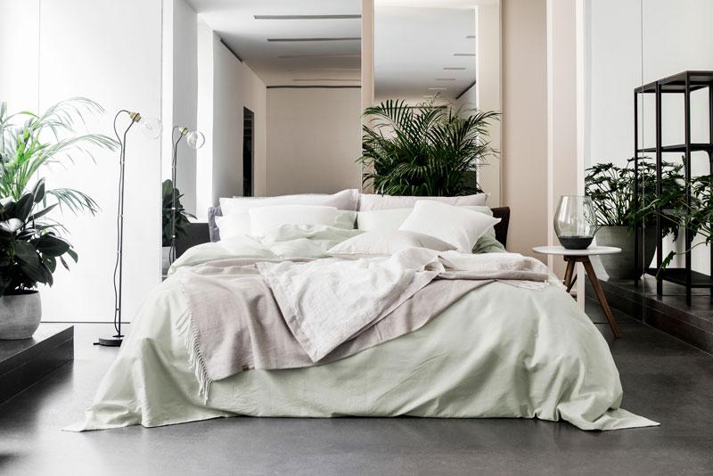 biancheria da letto in cotone e lino