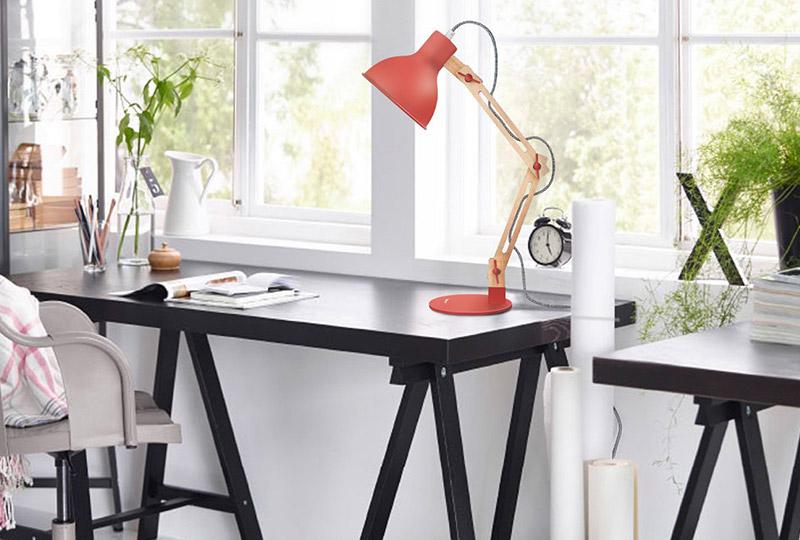 lampada da scrivania rossa stile nordico