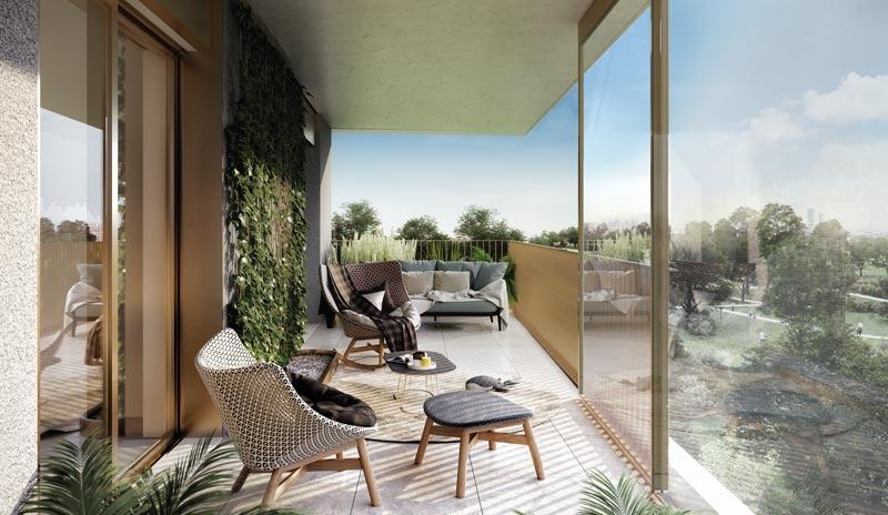 terrazzo appartamento nuovo quartiere Uptown Milano