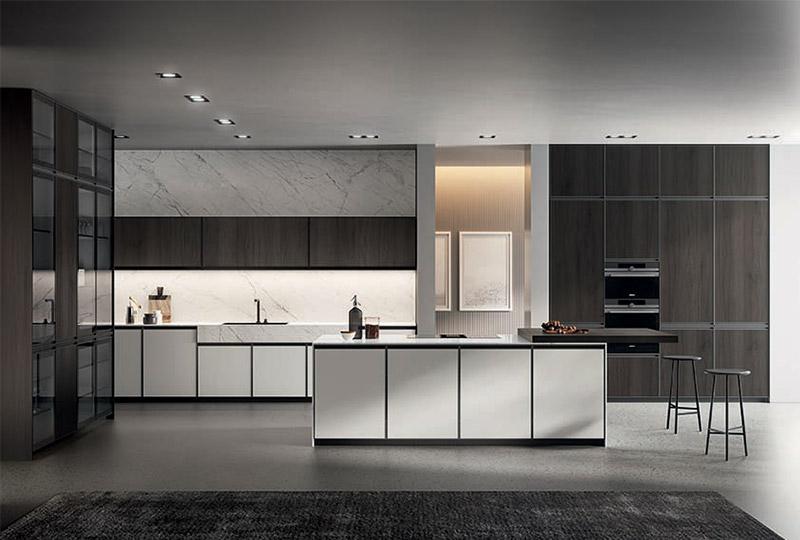 cucina moderna con illuminazione LED integrata