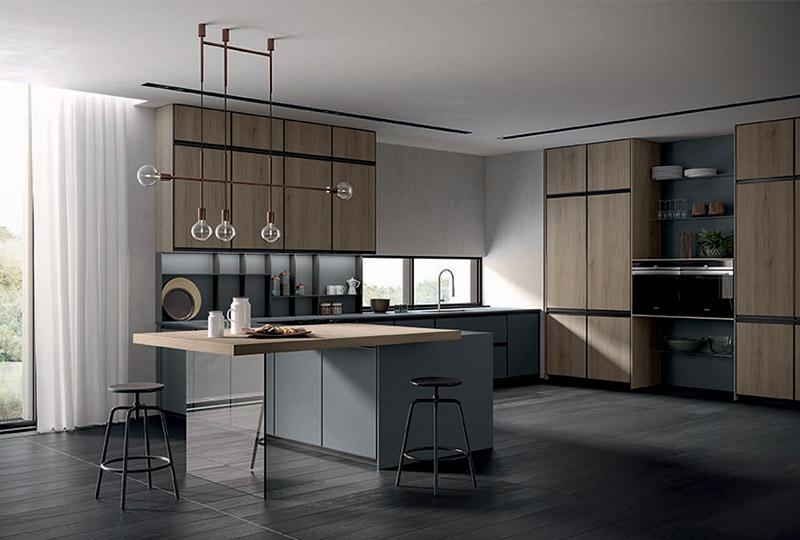 cucina moderna con isola e piano snack