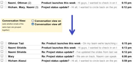 Gmail Conversation View On and Off