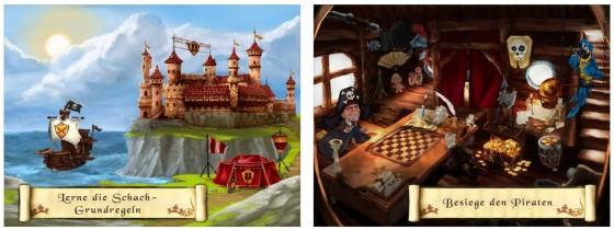 Das Schachlernen ist in Schach und Matt in eine Geschichte eingewebt. Zu jeder Figur gibt es Übungen und der integrierte Schachcomputer ist vom Niveau her auf Anfängergegner eingestellt.