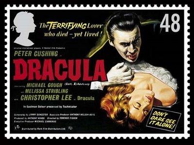 Dracula Christopher Lee auf Briefmarke aus Großbritannien