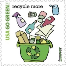 Briefmarke aus den USA zum Thema Recycling