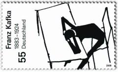 Briefmarke der Deutschen Post von 2008 mit Franz Kafka.