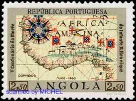 Heinrich der Seefahrer Afrikakarte auf Briefmarke von Angola aus 1960