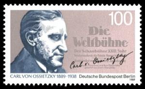 Carl von Ossietzky auf Berliner Briefmarke von 1989