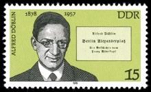 Eine Briefmarke der DDR von 1978 ehrt den Arzt und Schriftsteller Alfred Döblin.