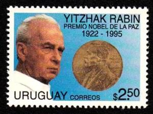 Jitzchak Rabin auf Briefmarke aus Uruguay von 1996
